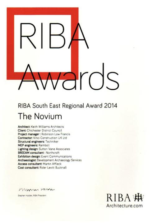 Novium Museum RIBA Regional Award 2014