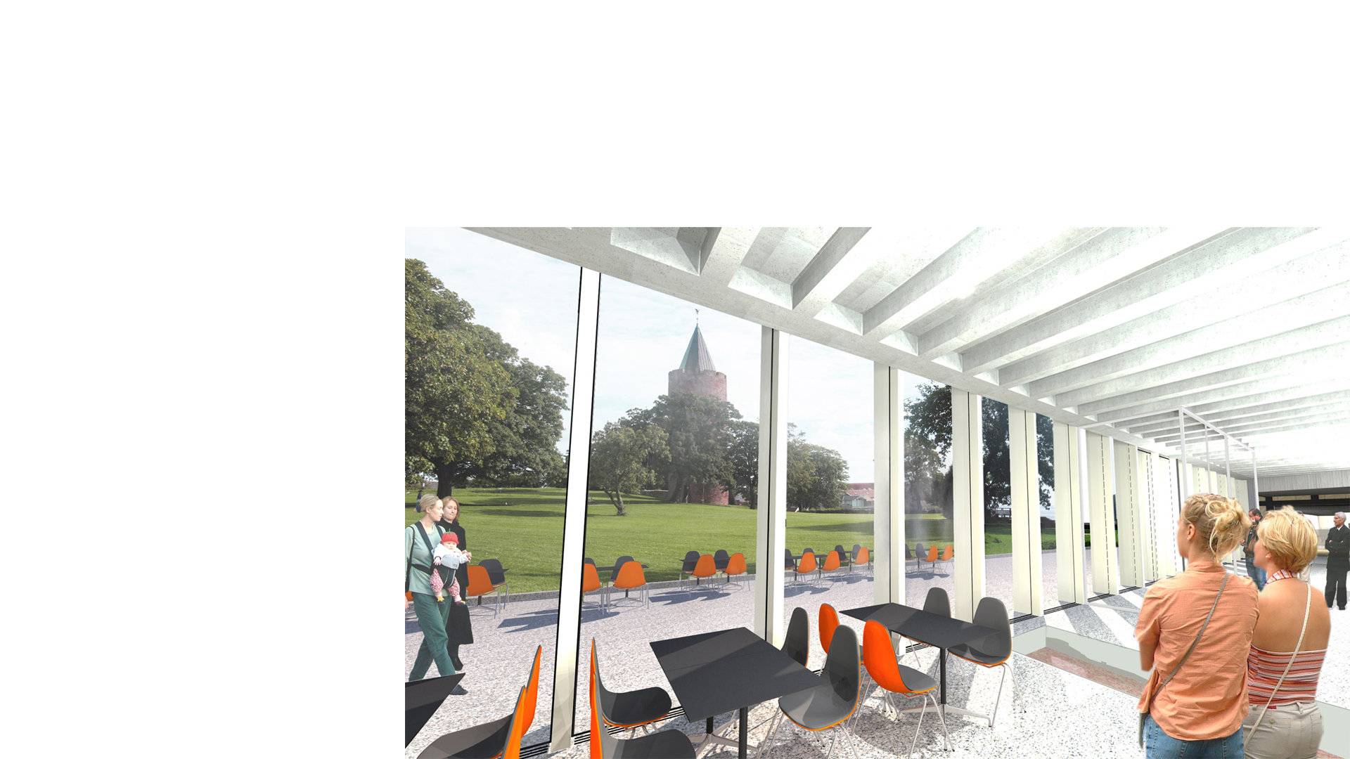 Rendering of the interior of the entrance foyer and restaurant at the proposed Vordingborg Museum