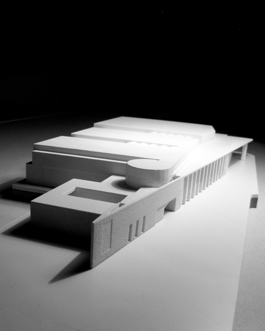 3D pointed architectural model from the south of the proposed Rhein Main Hallen Conference and Exhibition Centre Wiesbaden Germany