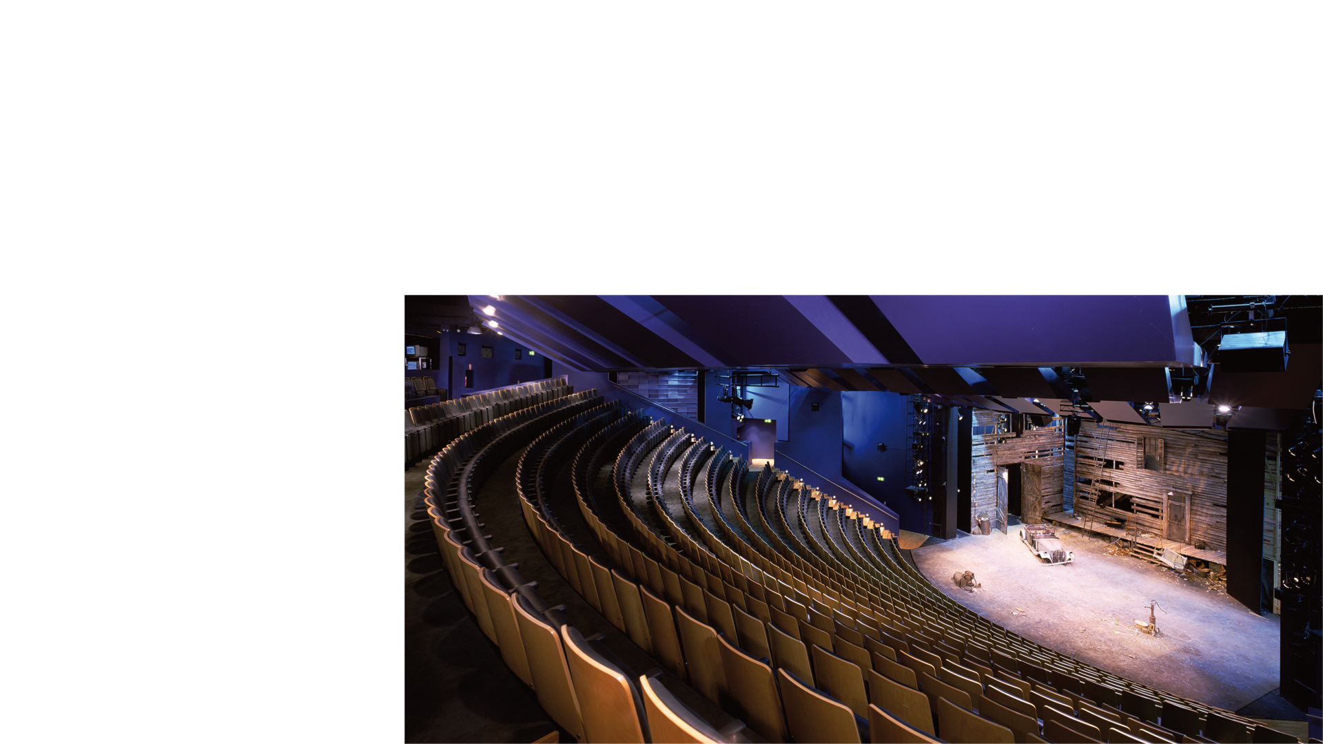 Lateral view of remodelled main auditorium toward the main stage at the Birmingham Repertory Theatre