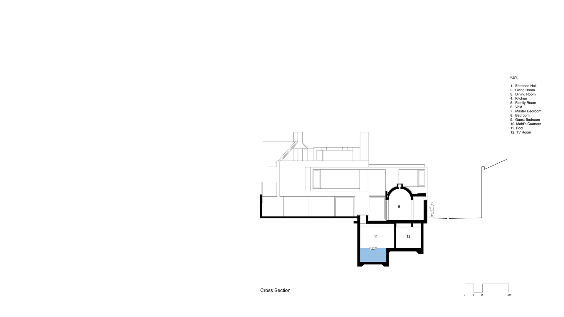 Cross section through the Long House showing the subterranean swimming pool.