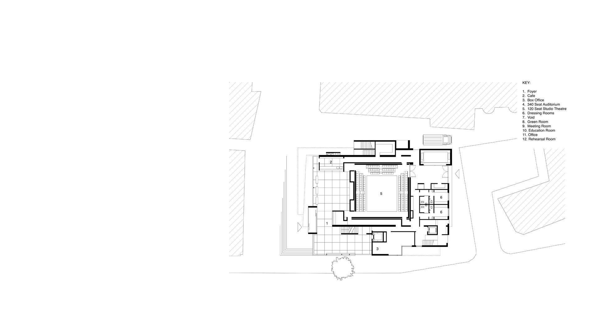 Entrance level plan with the Clore Studio at London's Unicorn Theatre