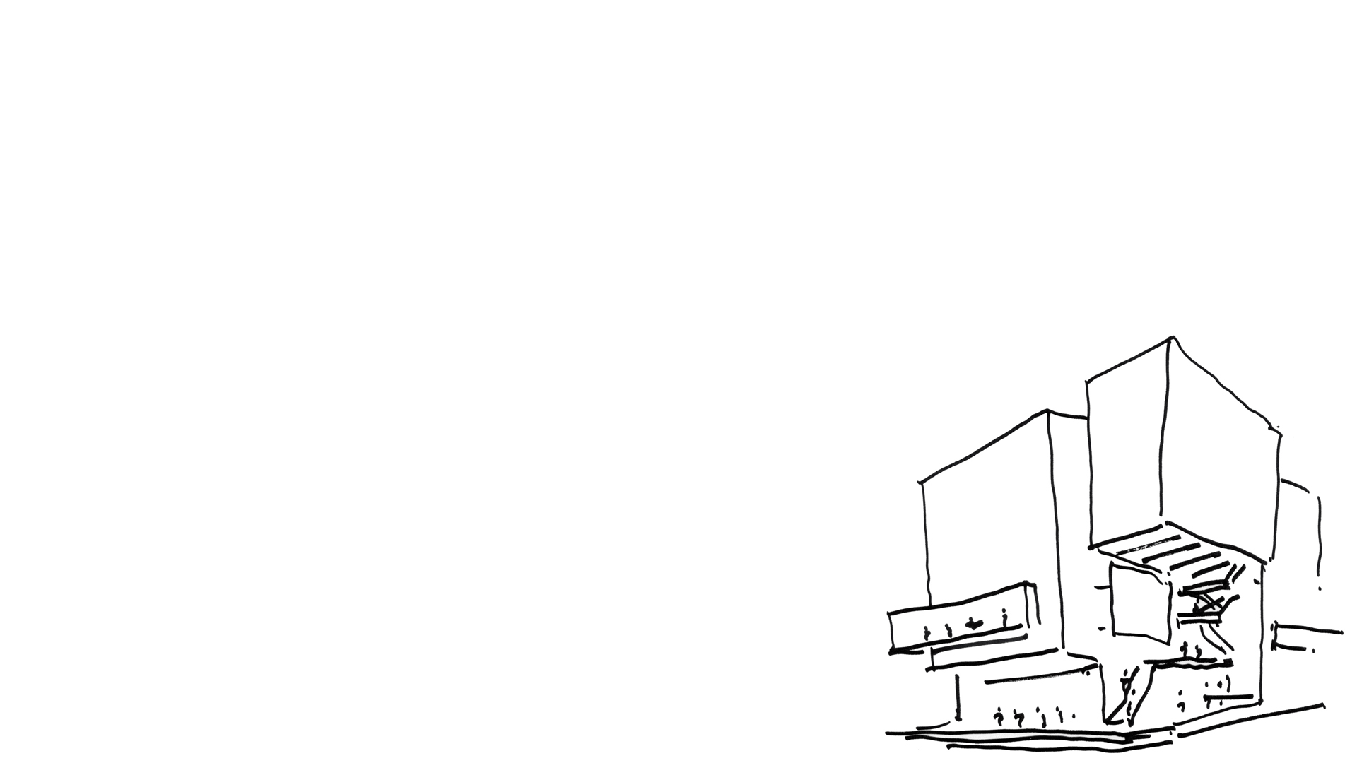 Keith Williams' Concept Sketch of the Unicorn Theatre's massing showing the main stair and the principal forms