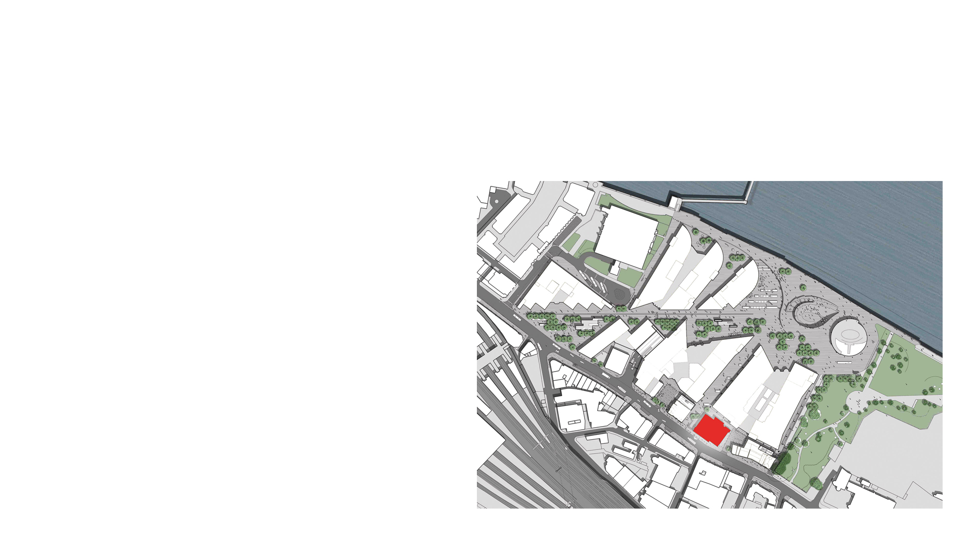 Unicorn Theatre Site Location Plan and River Thames. The circular building adjacent the river is London's City Hall.