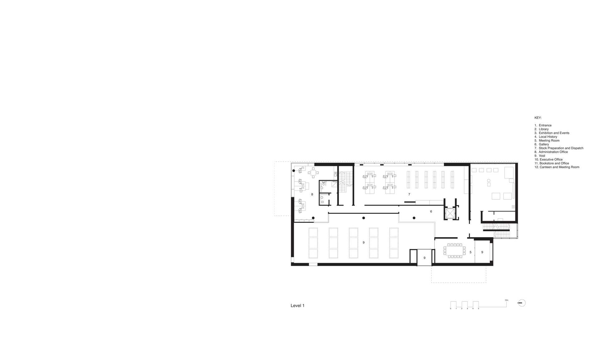 First Floor Plan Clones Library and County Library HQ, Clones, Ireland