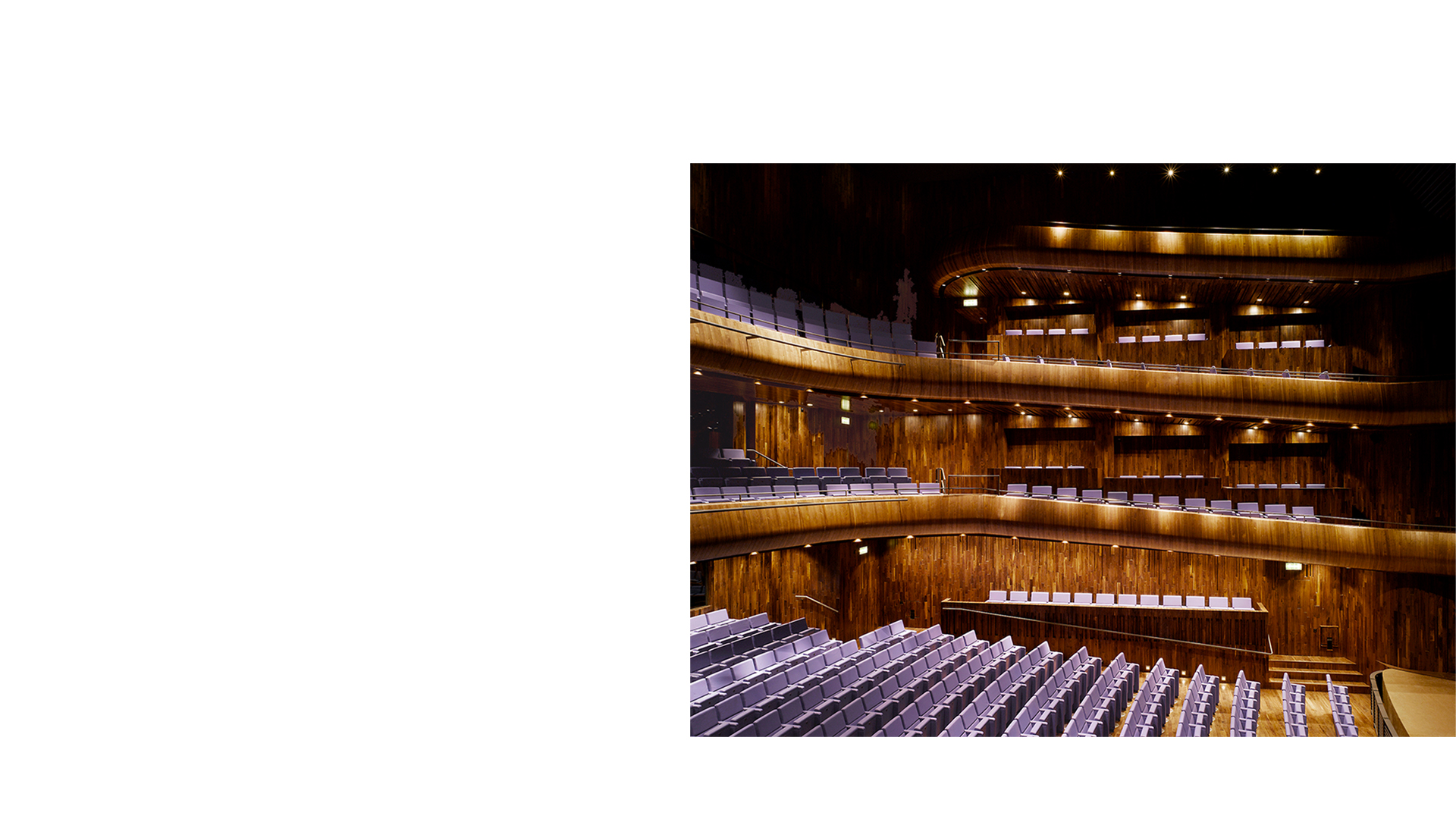 Lateral view of the O'Reilly Theatre at the National Opera House Wexford Ireland. One of the great small opera houses of the world.