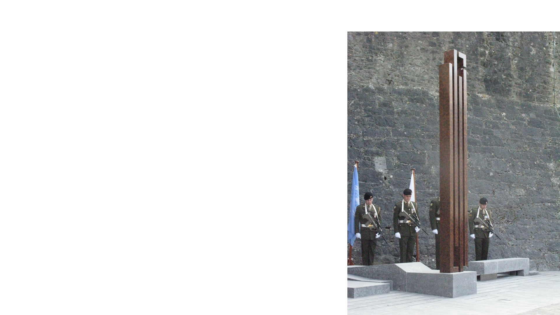 Irish soldiers at the inauguration ceremony of Athlone Army Memorial, Athlone Castle, Ireland
