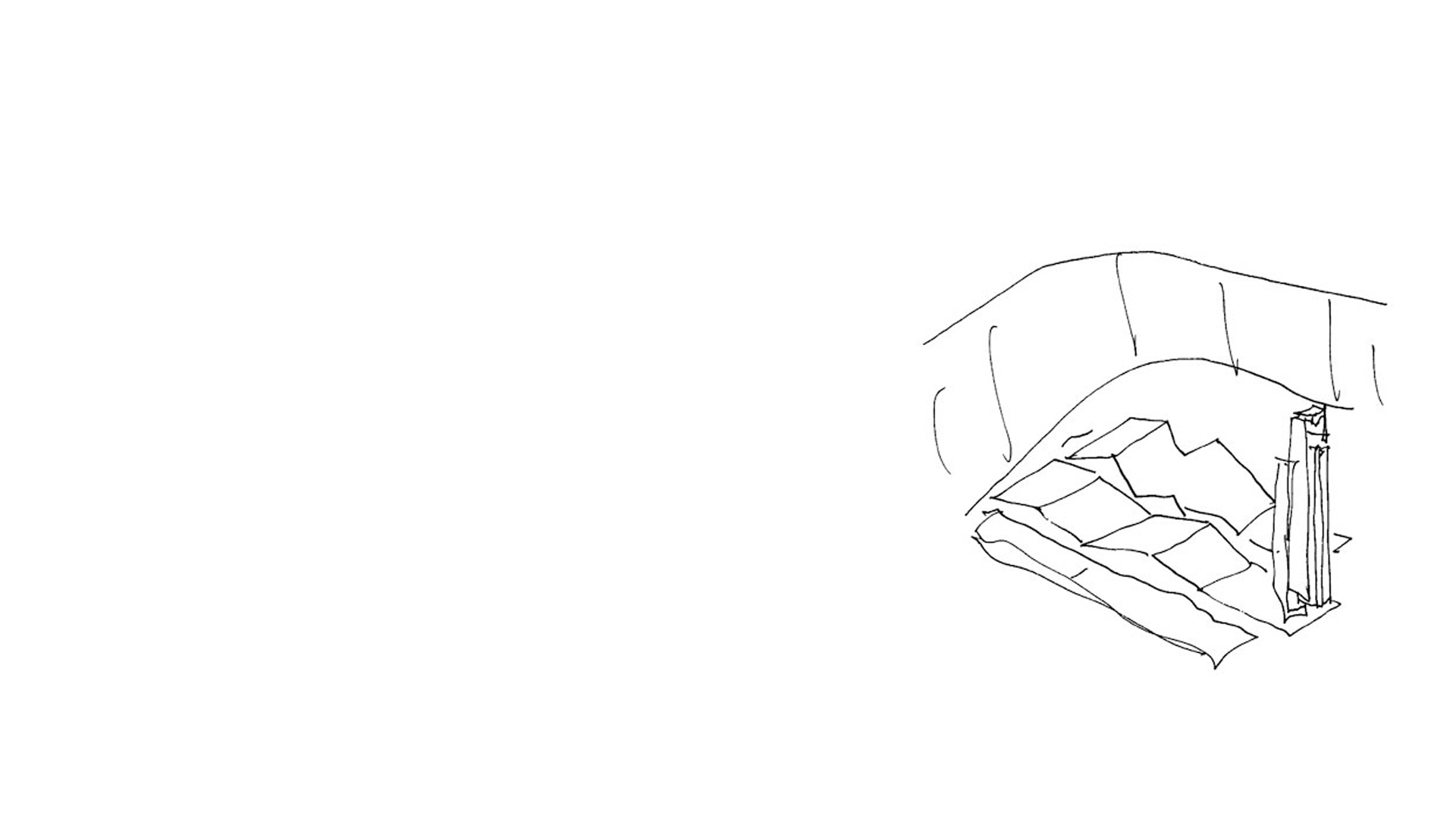 Keith Williams' concept massing sketch for Athlone Army Memorial, Athlone Castle Ireland