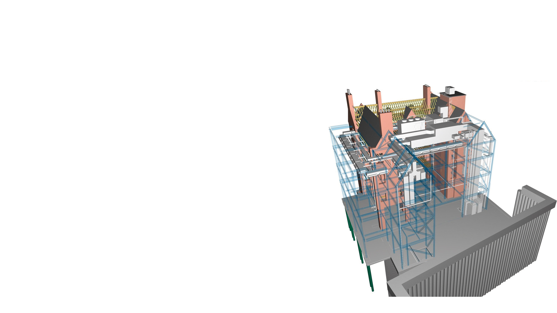 Image of 3D structural model by ARUP for the former Tooley Street Fire Station