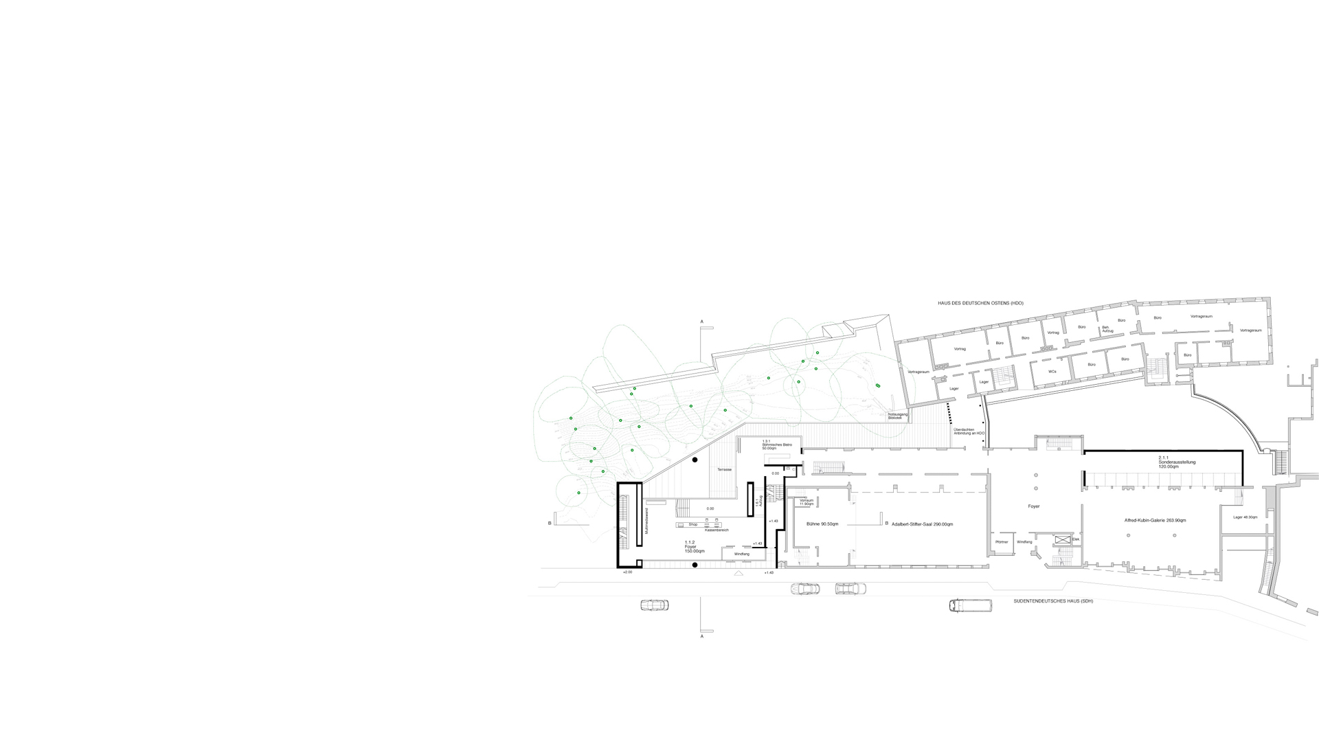 Principal level plan of the proposed Sudetendeutsche Museum