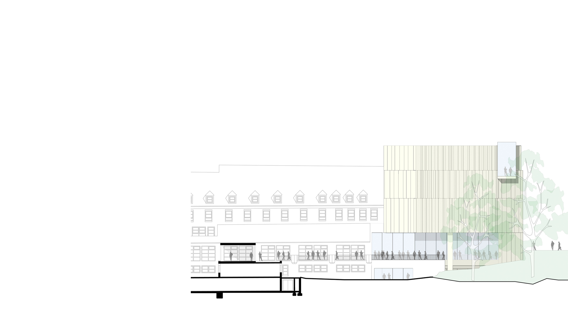 Rendered context elevation of the proposed Sudetendeutsche Museum, Munich