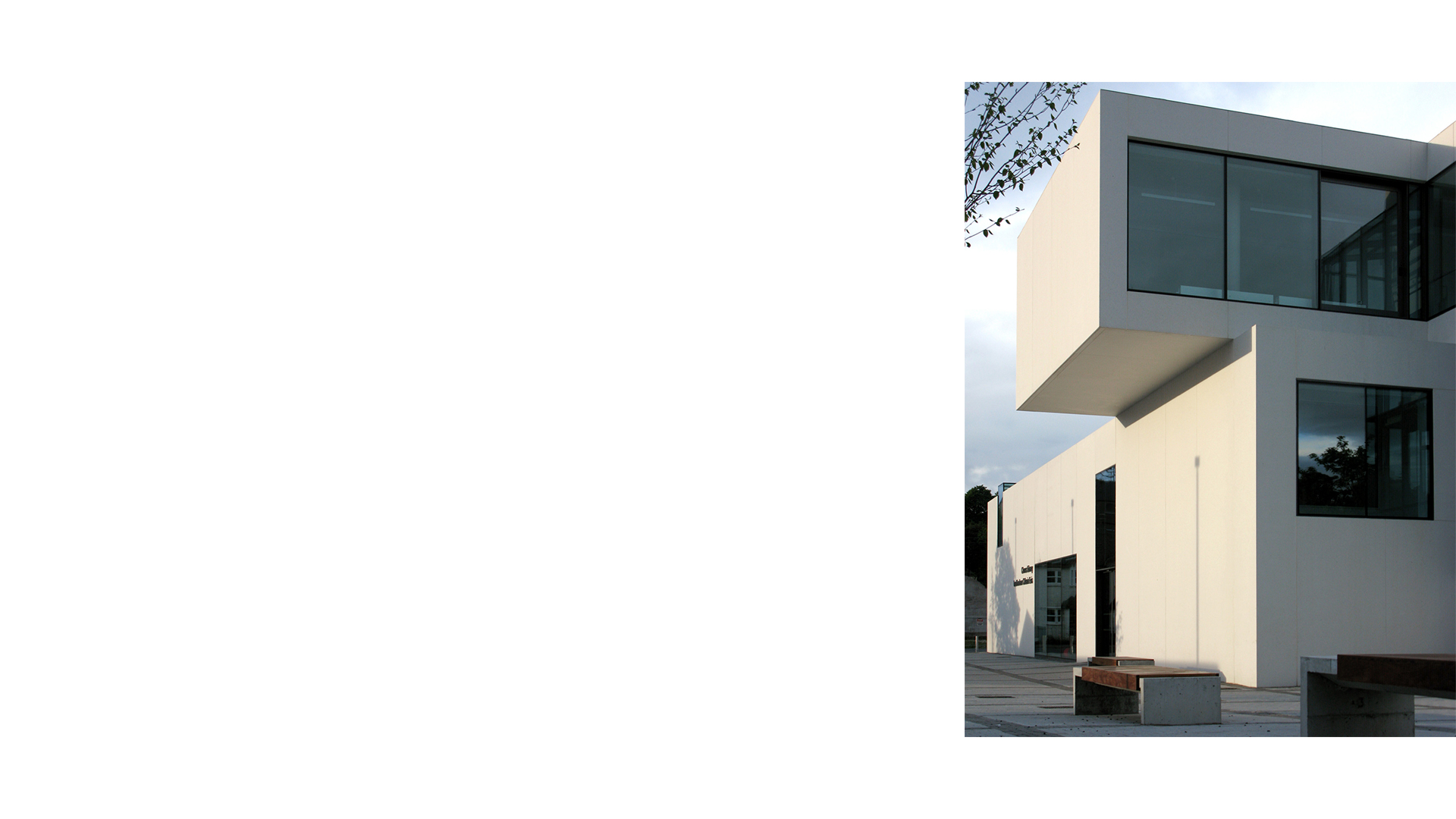 Cantilevered upper level above main entrance Clones Library and County Library HQ Ireland