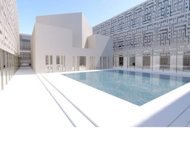 3D composite render of the Main Court with Library at the Addiriyah Arts Centre and Teaching Academy Riyadh