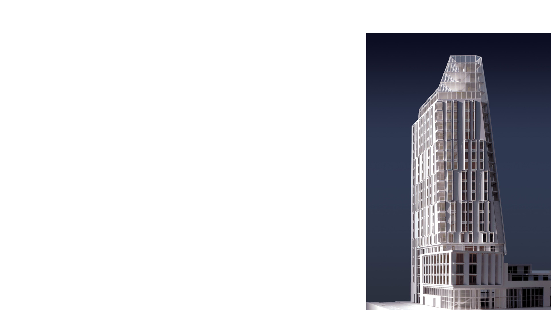 Oblique view of 3D physical model of Residential Tower at Black Prince Road London