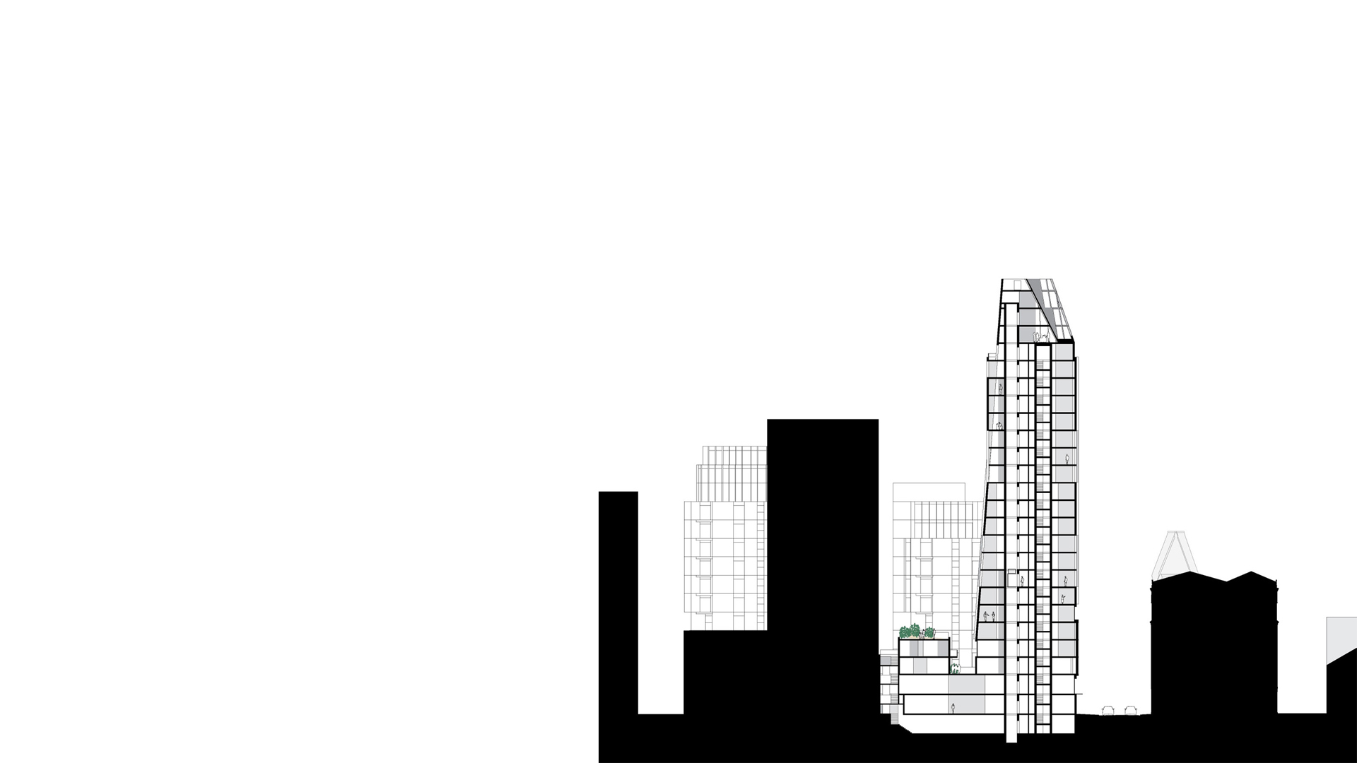 Context section through Residential Tower at Black Prince Road London