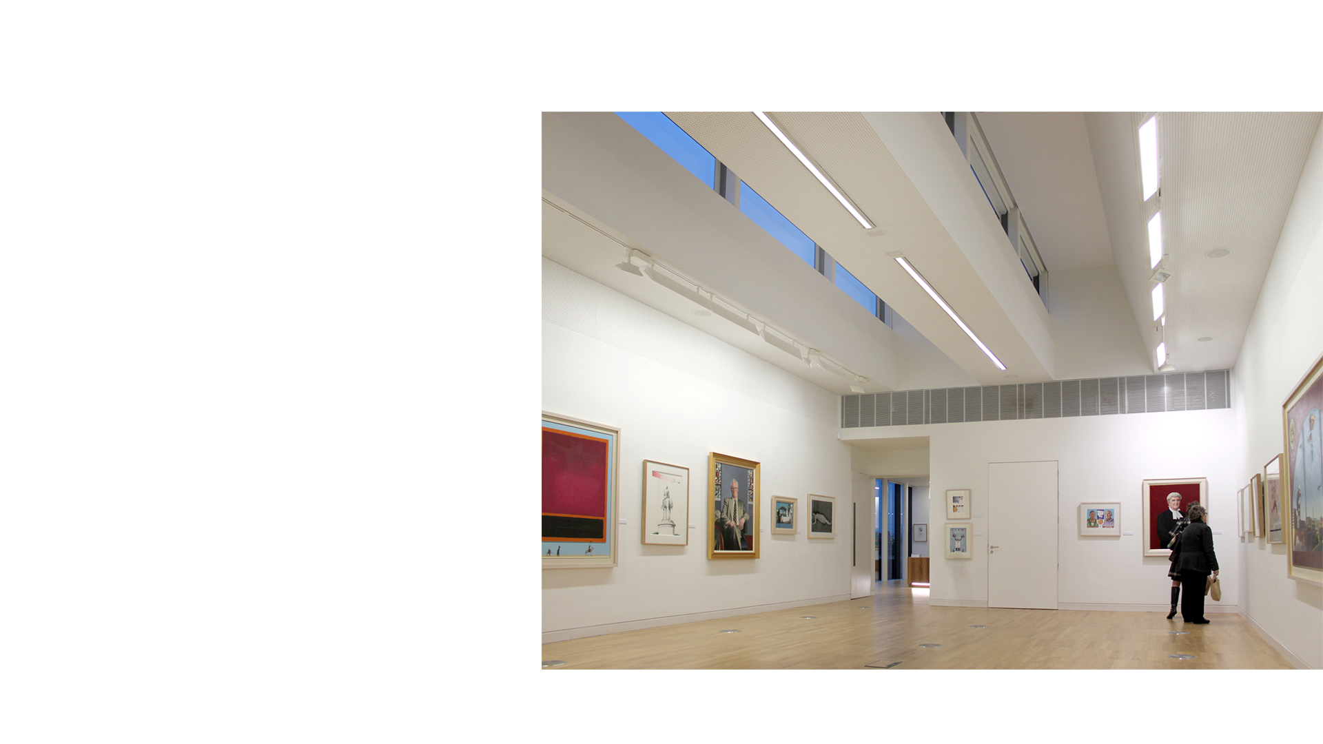 Top lit exhibition gallery in the new wing at the Luan Gallery, Athlone