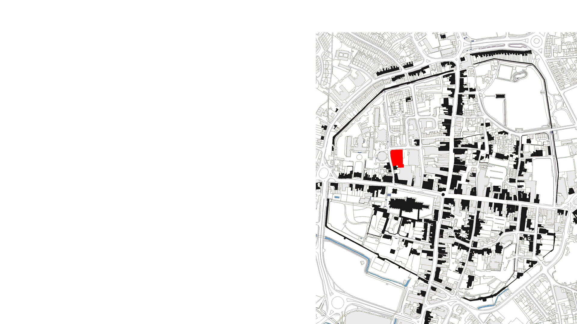 City plan showing the Novium Museum located in red