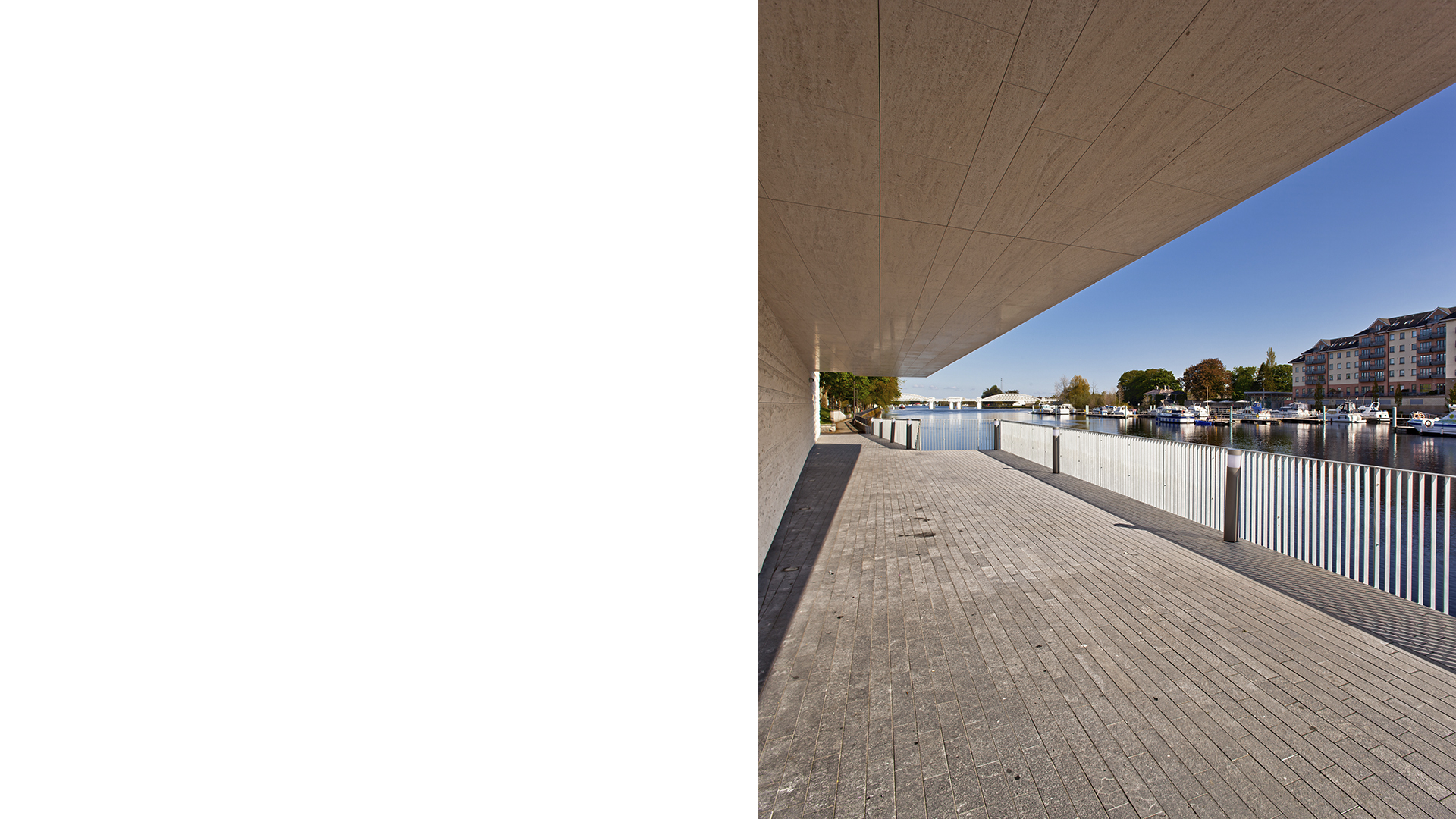 Detail of the gallery overhanging the new riverside walkway at the Luan Gallery, Athlone