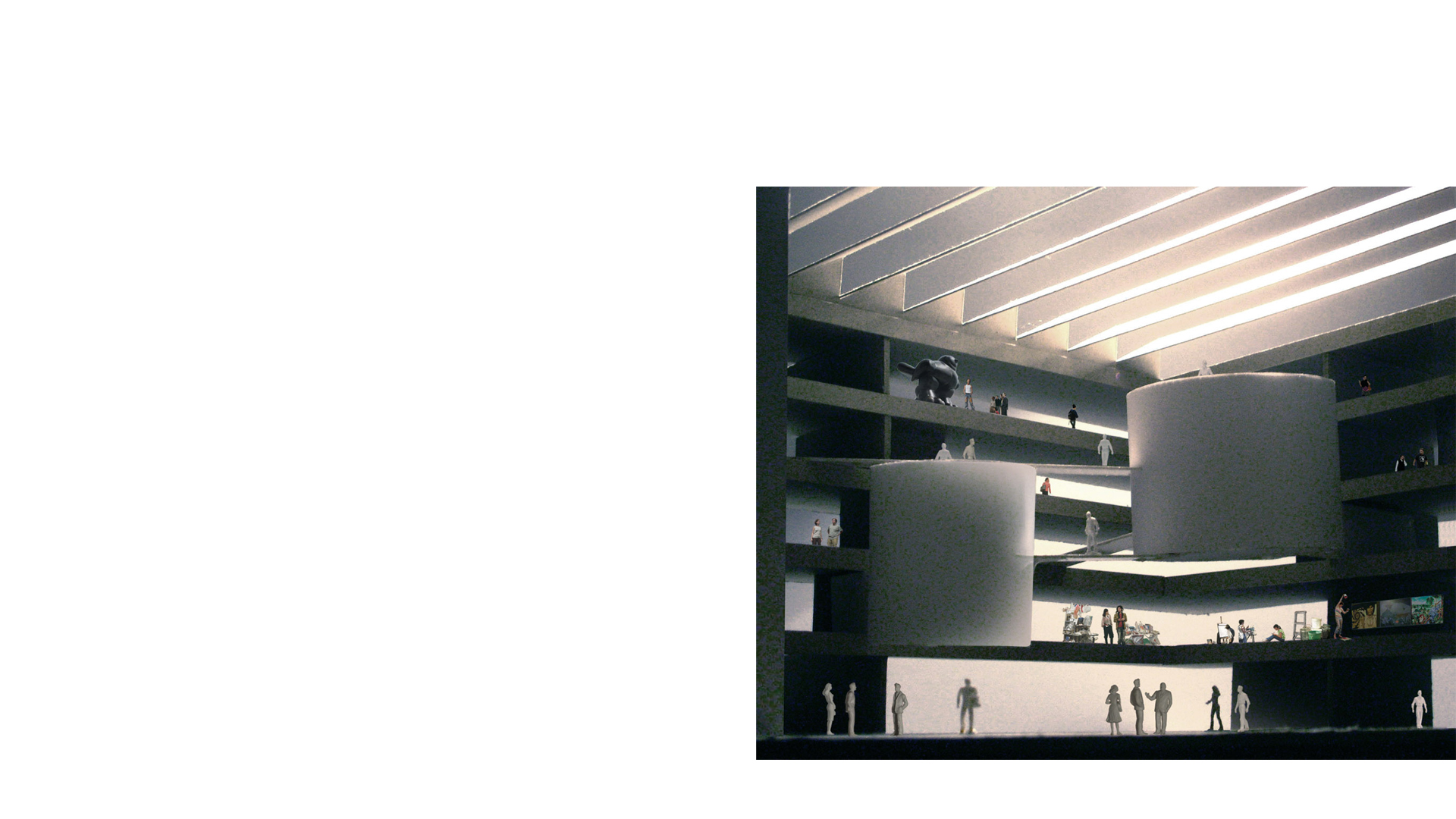 Physical model of the interior of proposed Sculpture Building for the Royal College of Art at the Battersea Campus. Design by Keith Williams Architects
