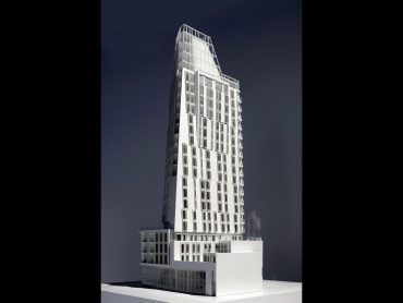 Oblique view of 3D Physical model of Residential Tower Black at Prince Road London