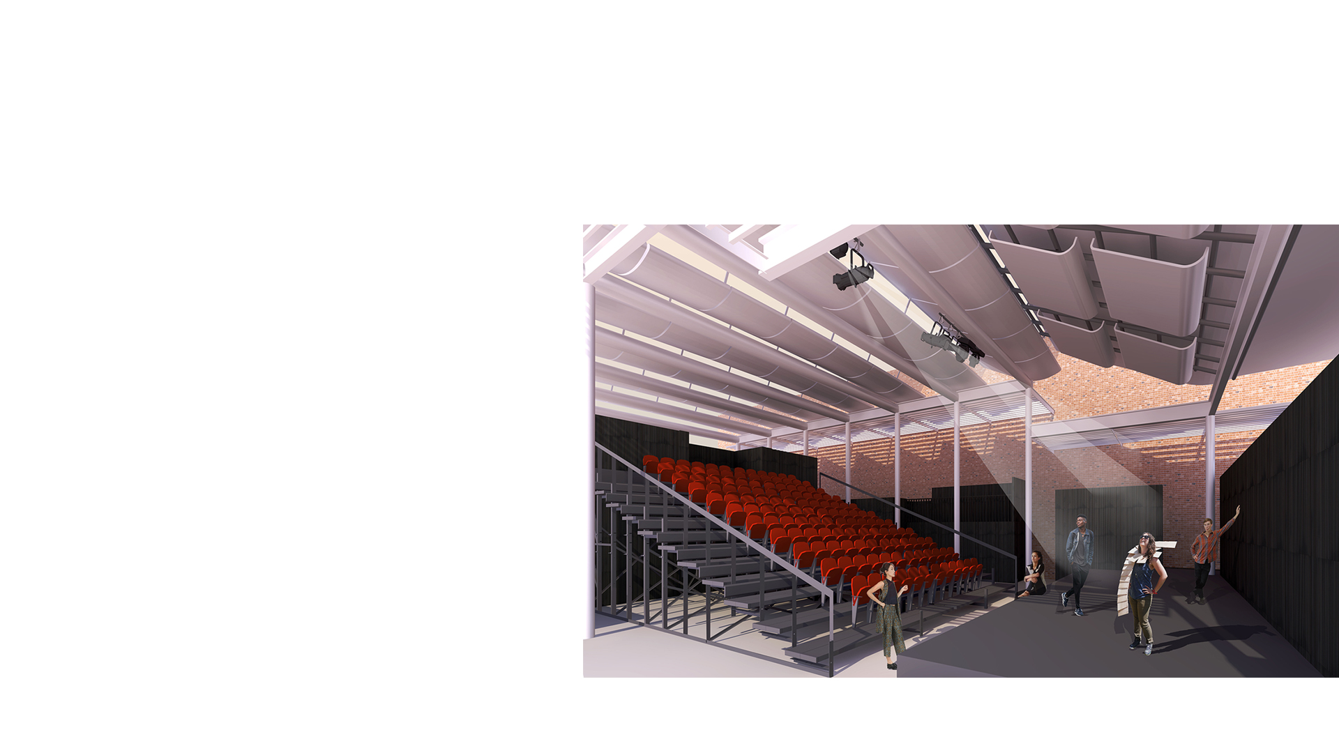 3D cut section of proposed temporary theatre at the Wolverhampton Grand