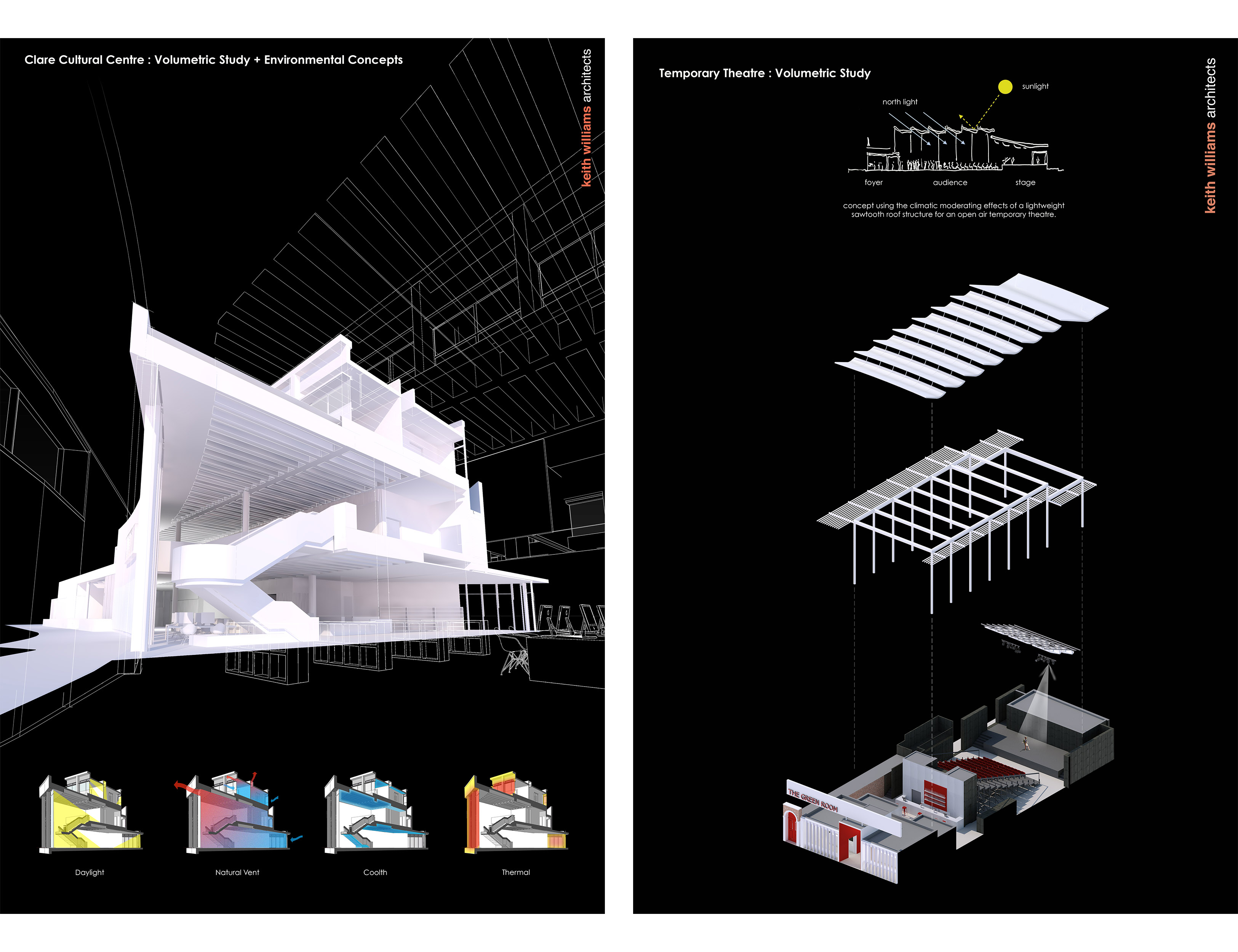 """2 drawings at the RA 2019 """"clare cultural centre : volumetric study + environmental concepts"""" and a """"temporary theatre : volumetric study"""" by Keith WIlliams Architects."""