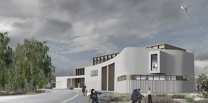 3D composite render of Clare County Library & Art Gallery Ireland from the South West