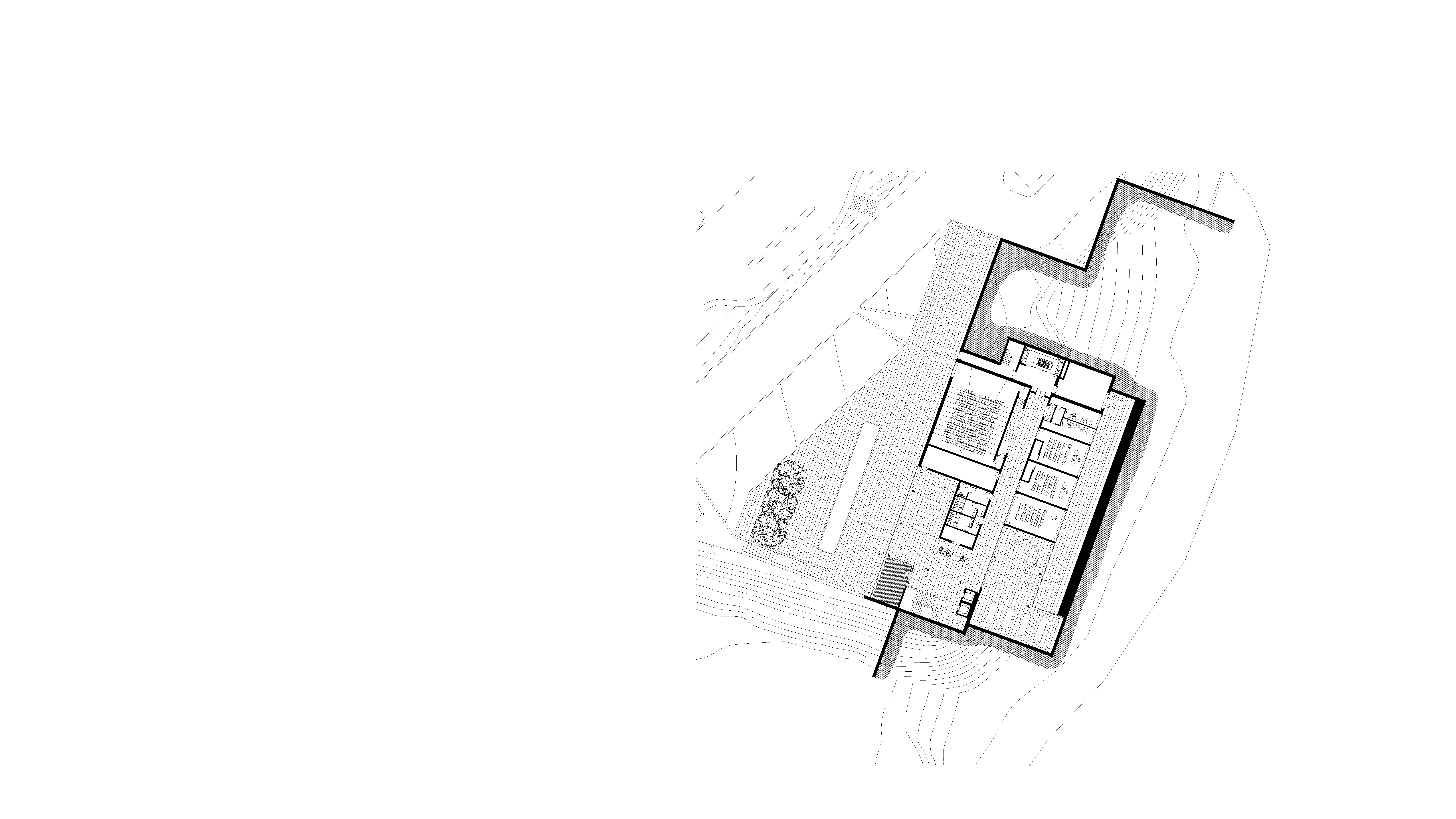 Ground floor plan of new museum by Keith Williams Architects for lwl-freilichtmuseum Detmold invited competition