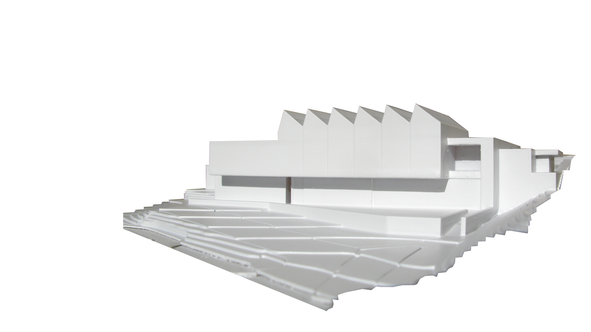 Architectural model main entrance facade of new museum by Keith Williams Architects for lwl-freilichtmuseum Detmold invited competition