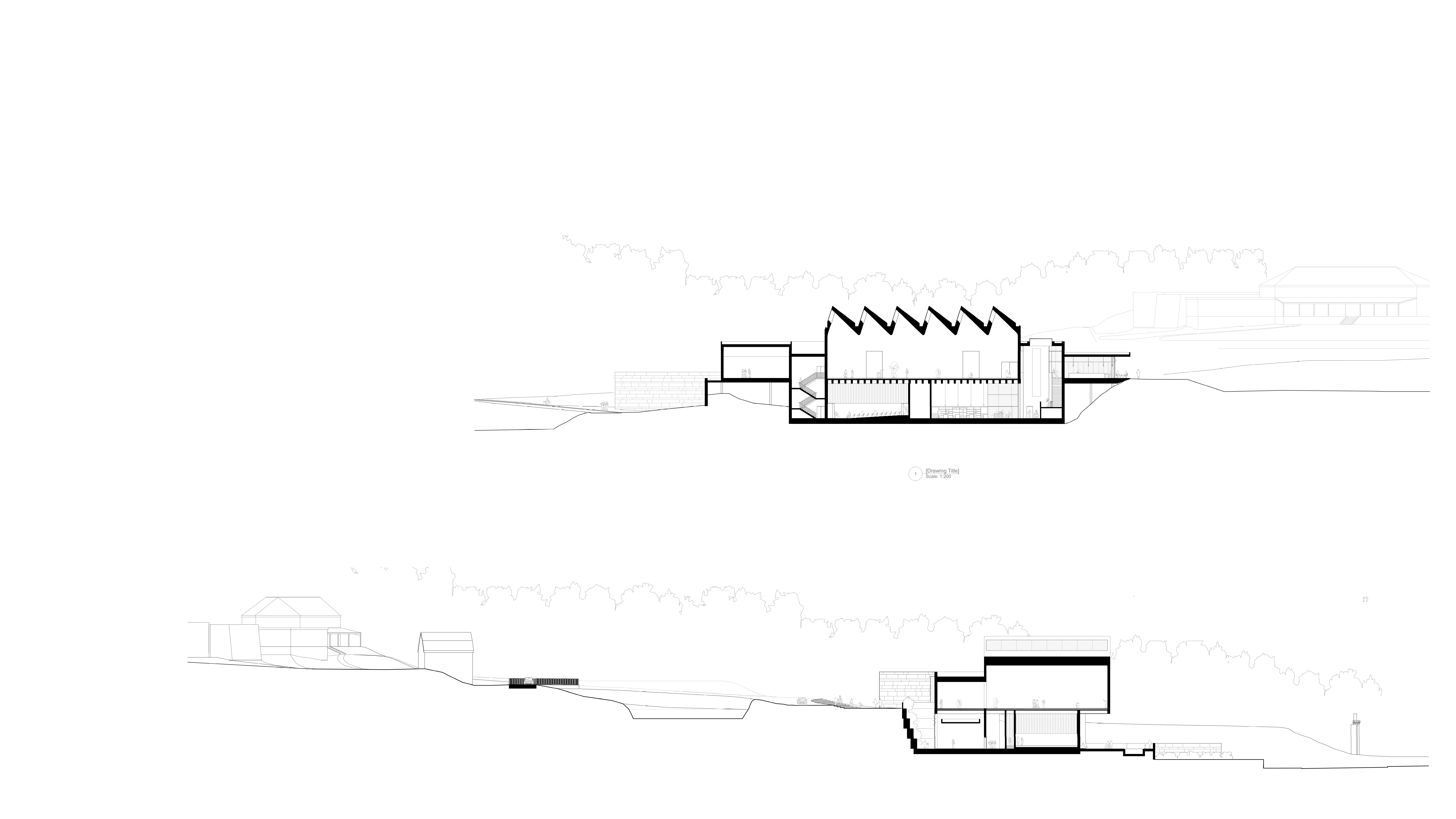 Sections through new museum by Keith Williams Architects for lwl-freilichtmuseum Detmold invited competition