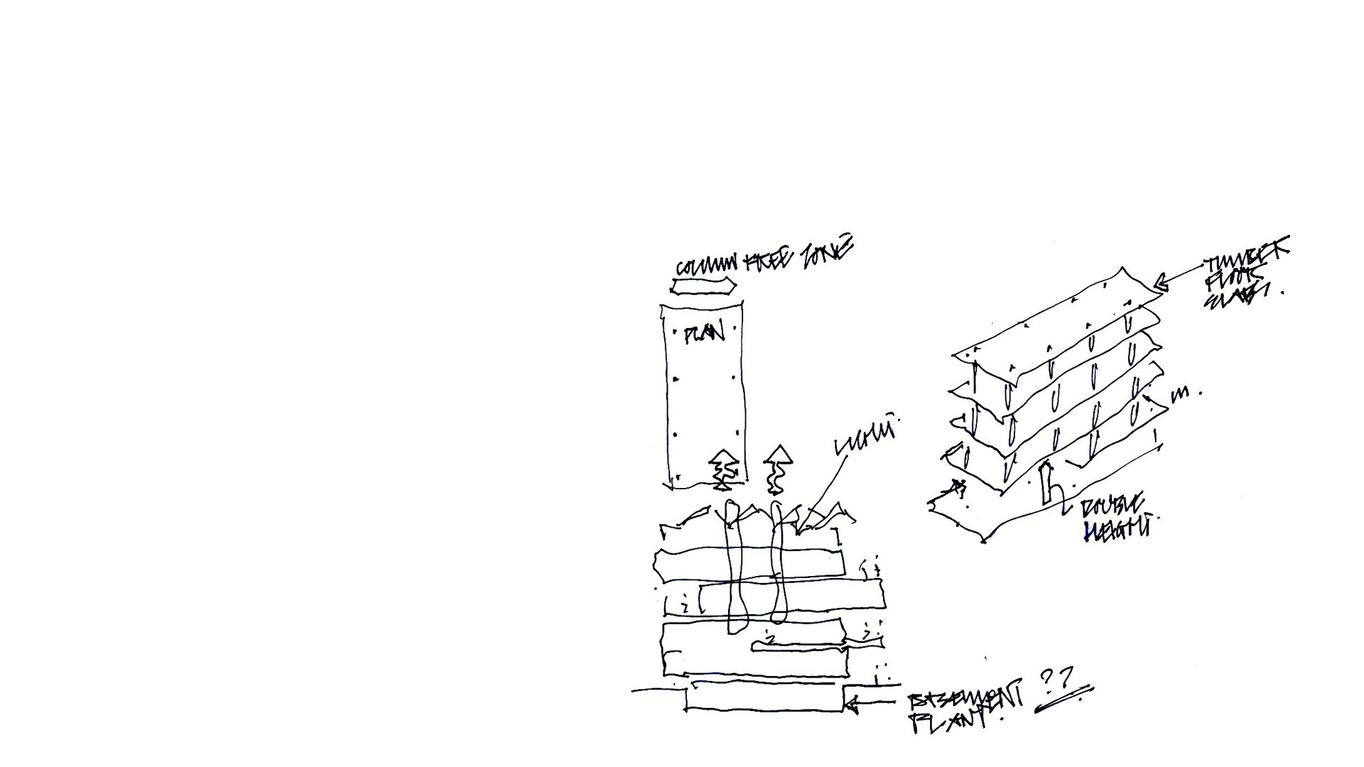 Generative sketches of proposals for new FOCAS building at Technical University Dublin by Keith Williams Architects