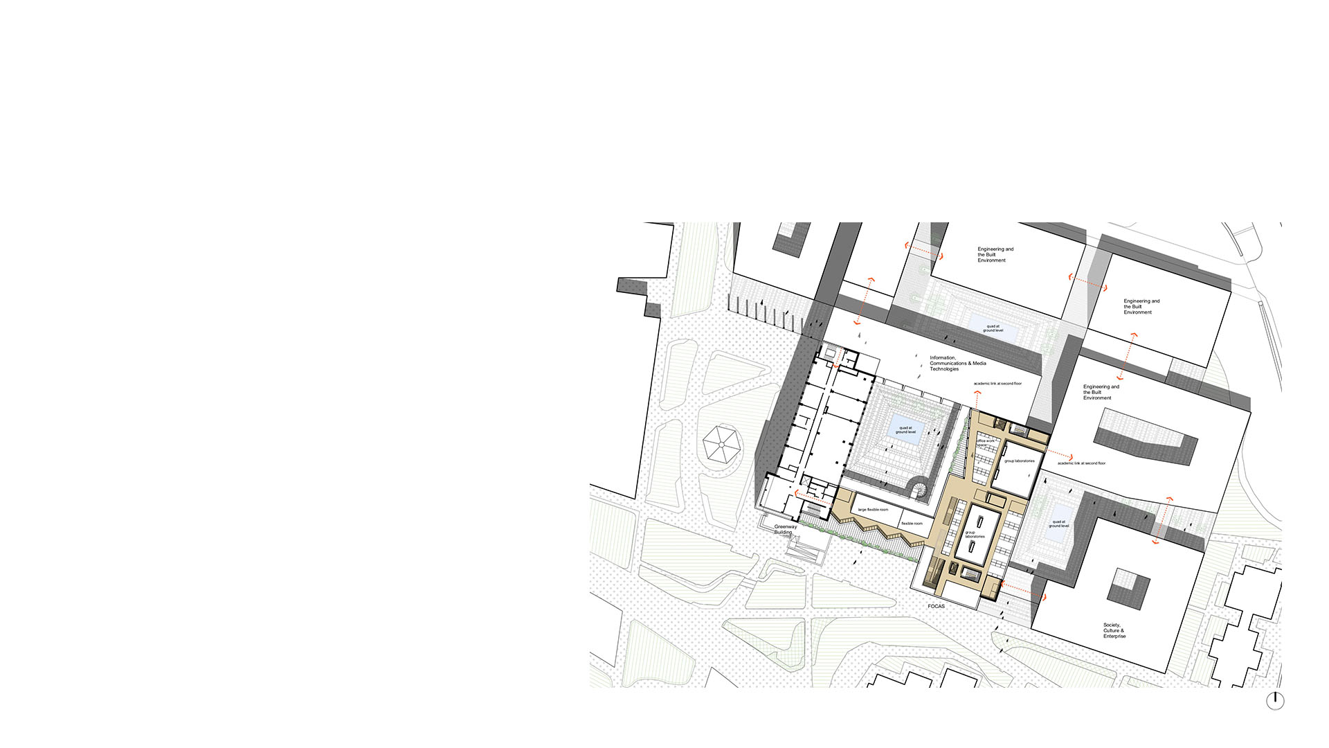 1st floor plan of proposals for new FOCAS building at Technical University Dublin by Keith Williams Architects