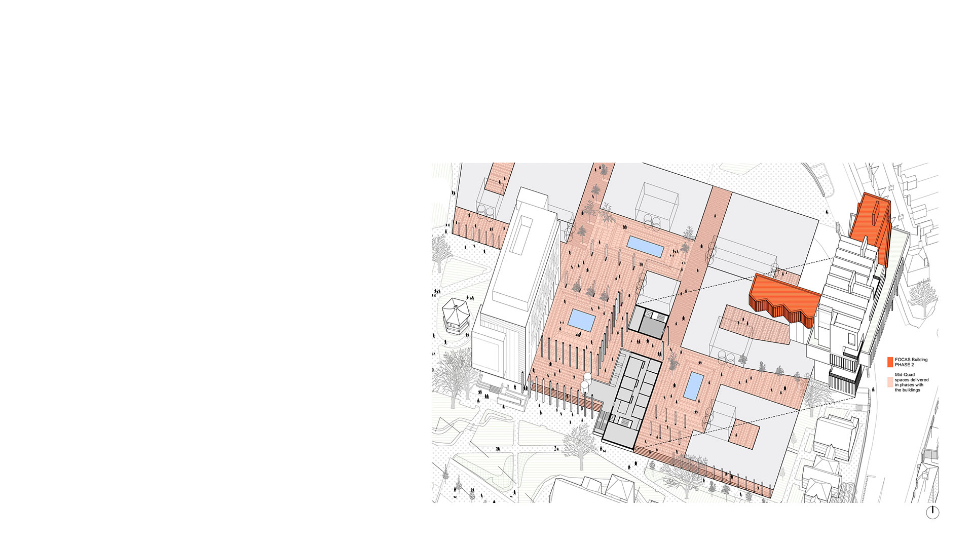 Axonometric cutaway of proposals for new FOCAS building at Technical University Dublin showing public realm at ground level by Keith Williams Architects