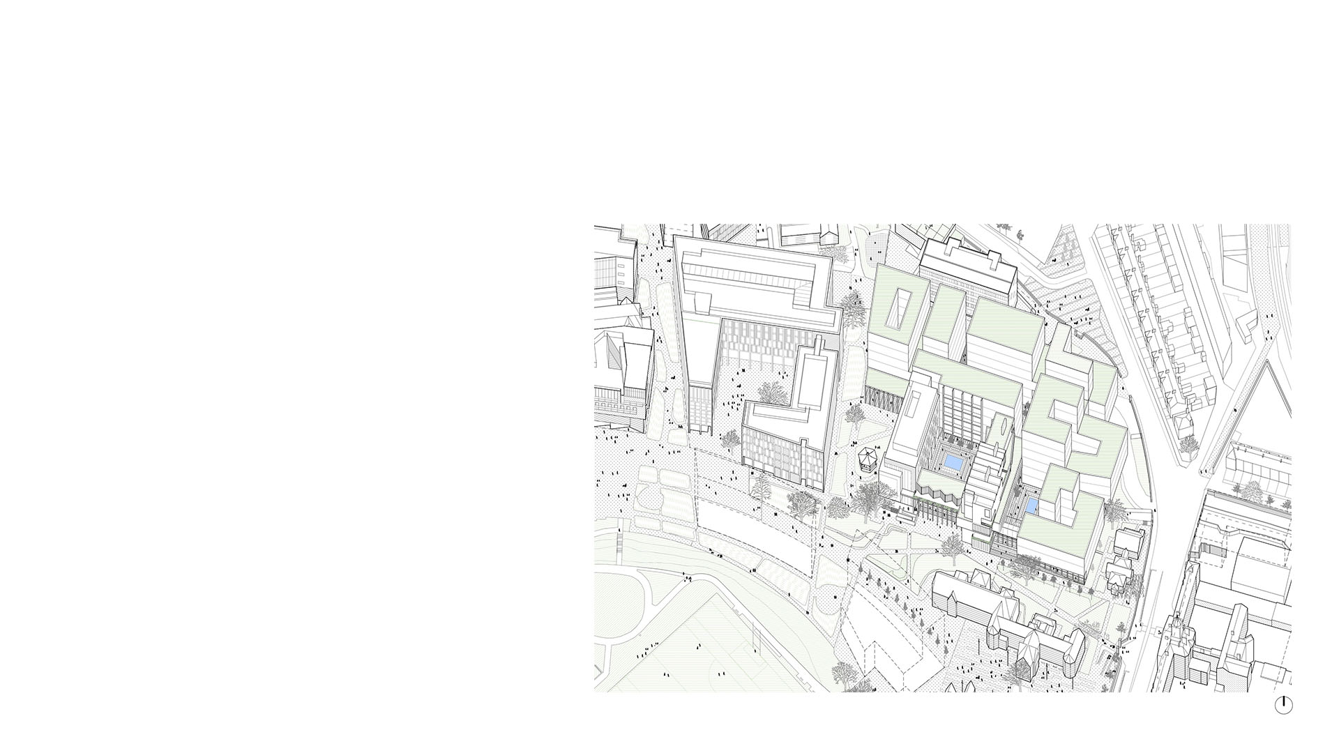 Axonometric of proposals for new FOCAS building at Technical University Dublin by Keith Williams Architects