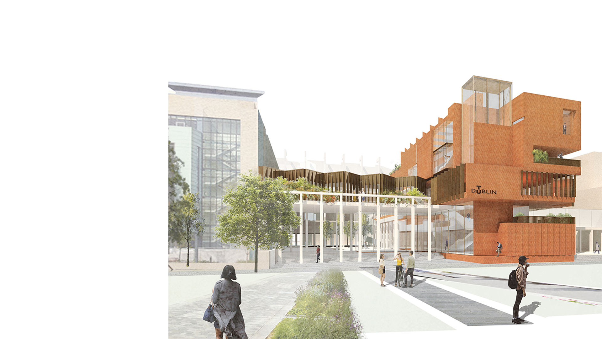 FOCAS building at Technical University Dublin Main Approach designed by Keith Williams Architects